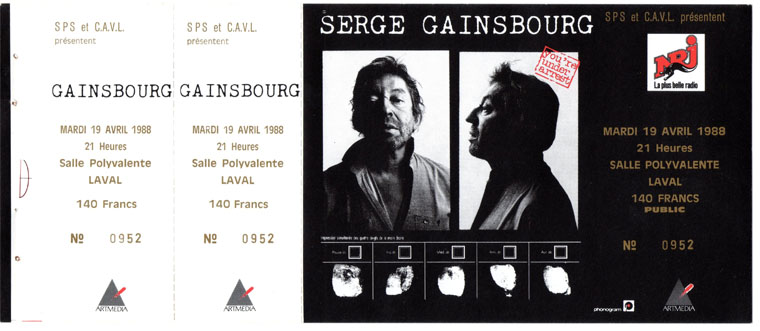 Vente ancien billet place concert collection vintage Serge Gainsbourg Gainsbarre idee cadeau ticket live collector fan tour 1988